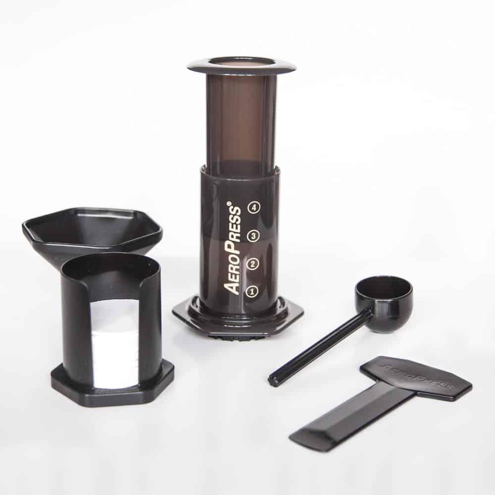 Aeropress kaffebrygger med alt udstyr